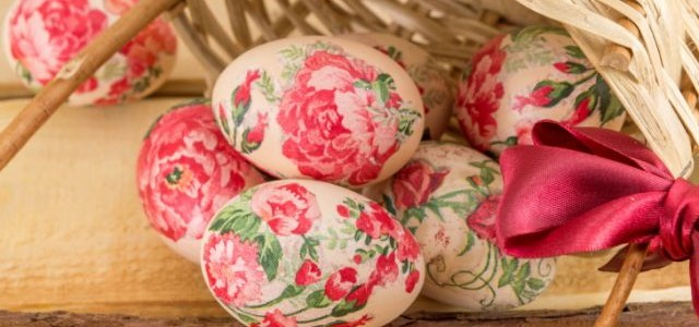 Decorated Easter eggs falling out of basket